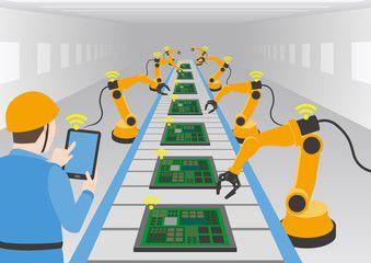 工場PCB組み立てラインのイメージ。監督者、モニタリング、6軸ロボット、PCB製造ライン(稼働中)での通訳