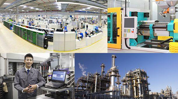 工業イメージ写真。工場の事務所、成形機、現物確認をする工業翻訳者、化学プラント